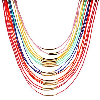 Dame Lag-på-lag Choker Halskjede / lagdelte Hals / Perlehalskjede - Perle, Lær Personalisert, Mote, Statement Skjermfarge Halskjeder Til Daglig, Avslappet / Imitert Perle
