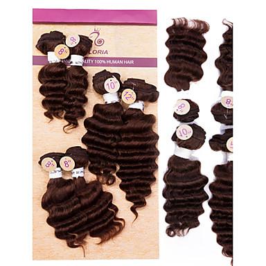 Człowieka splotów włosów Pofalowana Przedłużanie włosów Włosy brazylijskie Czarny Ciemnobrązowy Brąz Ludzkie włosy wyplata 0.2