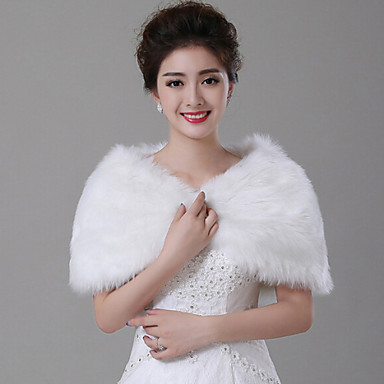 Sleeveless Faux Fur Wedding Wedding  Wraps With Feathers / Fur Capelets