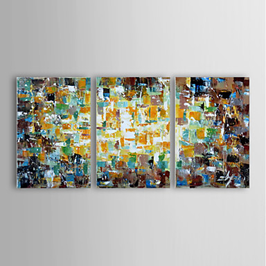 Hand-Painted Abstract Horizontal Panoramic, Modern Canvas Oil Painting Home Decoration Three Panels