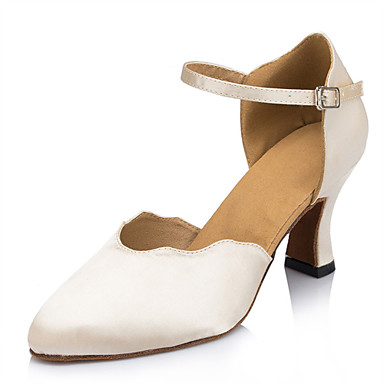 Kadın's Modern Dans Ayakkabıları Saten Topuklular Toka Stiletto Topuk Kişiselleştirilmiş Dans Ayakkabıları Bej / İç Mekan