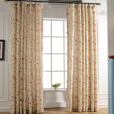 Rod Pocket Grommet Top Tab Top Double Pleat Pencil Pleat Two Panels Curtain Modern European Mediterranean Neoclassical Country, Print &
