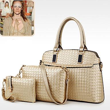 Women Bags All Seasons PU Shoulder Bag Tote Satchel Clutch 3 Pcs Purse Set for Shopping Casual Formal Office & Career Gold Black Beige