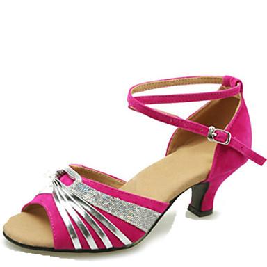 Latin Women's Dance Shoes Sandals Velvet  Cuban Heel Black/Blue/Fuchsia