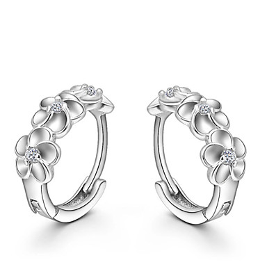 f87655b9880e Women s Crystal Stud Earrings Huggie Earrings Sterling Silver Crystal Silver  Earrings Flower Camellia Ladies Fashion Jewelry Silver For Wedding Party  Daily ...