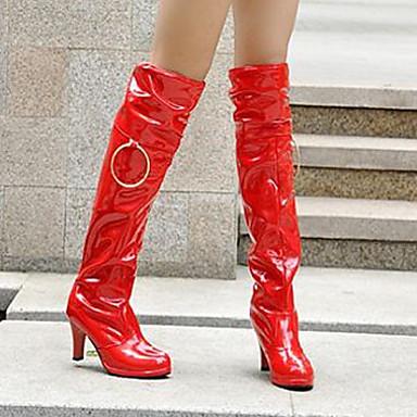 Talon Hiver Pour Cuissardes Cuir Femme Décontracté Noir Rouge Aiguille Cuissarde Automne Habillé Chaussures Printemps Blanc 04736210 Verni ARAqXYw