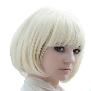 Women Synthetic Wig Short Straight White Costume Wig
