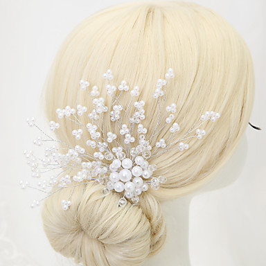 Crystal Imitation Pearl Alloy Hair Combs 1 Wedding Special Occasion Headpiece