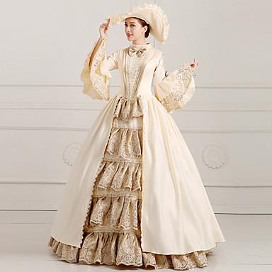 Klasik/Geleneksel Lolita Steampunk® Wiktoriańskie Dantel Saten Kadın's Elbiseler Cosplay Uzun Kollu Uzun (L)