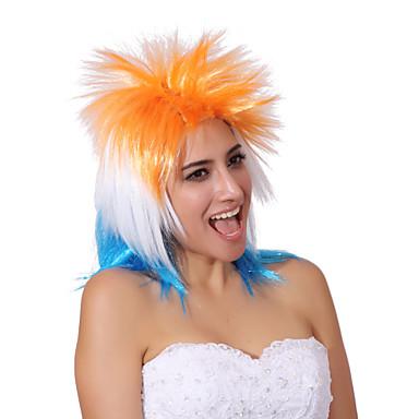 Sentetik Peruklar Düz Kinky Düz Kadın's Bonesiz Karnaval Peruk Cadılar Bayramı Peruk Sentetik Saç
