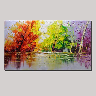 Pintura a Óleo Pintados à mão - Abstrato / Paisagem Modern Tela de pintura
