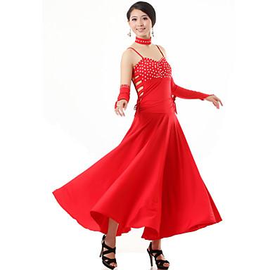 Balo Dansı Kıyafetler Kadın's Performans Viskoz 4 Parça Elbise Eldivenler Neckwear