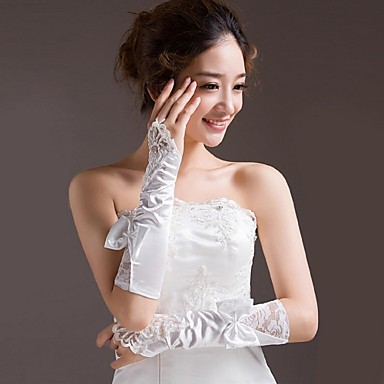Satin Elbow Length Glove Bridal Gloves With Bowknot