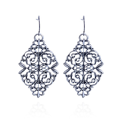 Damla Küpeler Oyulmuş Derin Gümüş Kaplama Flower Shape Gümüş Mücevher Için Parti Günlük 2pcs