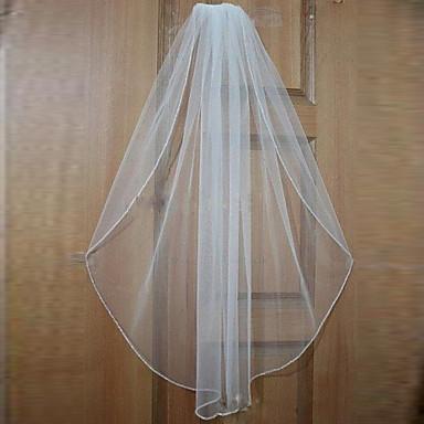 One-tier Beaded Edge Wedding Veil Elbow Veils Fingertip Veils With Bead Tulle