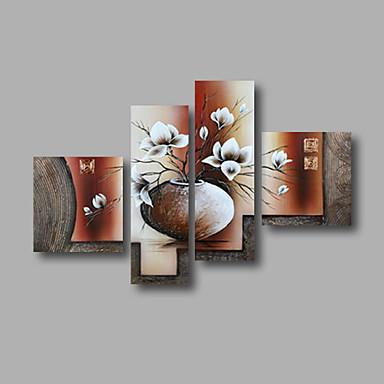 Hang-Boyalı Yağlıboya Resim El-Boyalı - Çiçek / Botanik Modern Tuval