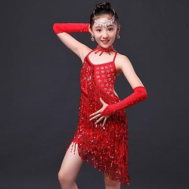 Shall We Latin Dance Dress / Children Performance Polyester Rhinestones / Tassel Dress 4 Pieces