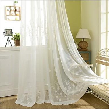Rod Pocket Grommet Top Tab Top Double Pleat Pencil Pleat Two Panels Curtain Country, Embroidery Bedroom Polyester Material Curtains Drapes
