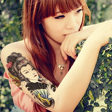 Beauty And The Snake  Waterproof Flower Arm Temporary Tattoos Stickers Non Toxic Glitter