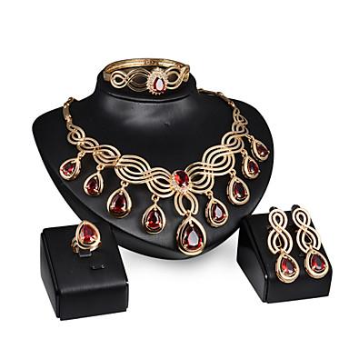 Schmuckset Rubin Edelstein Aleación Rot 1 Paar Ohrringe 1 Armreif Halsketten Ringe Für Hochzeit Party 1 Set Hochzeitsgeschenke