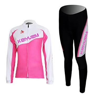 KEIYUEM Mulheres Manga Longa Calça com Camisa para Ciclismo - Preto Moto Meia-calça Conjuntos de Roupas, Prova-de-Água, Secagem Rápida,