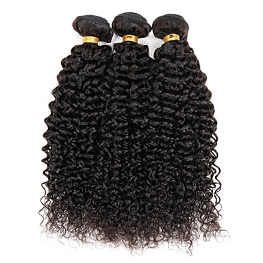 abordables Cabello Ondulado Natural-3 paquetes Cabello Brasileño Kinky Curly / Tejido rizado Cabello humano Tejidos Humanos Cabello Cabello humano teje Extensiones de cabello humano / Kinky rizado
