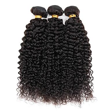 baratos Extensões de Cabelo Natural-3 pacotes Cabelo Brasileiro Kinky Curly / Weave Curly Cabelo Humano Cabelo Humano Ondulado Tramas de cabelo humano Extensões de cabelo humano / Crespo Cacheado