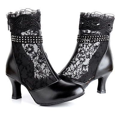 Cuir Chaussures Latines Strass Fermeture Dentelle Femme Bottes 8tCqZ7w
