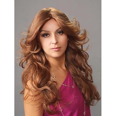 Sentetik Saç peruk Bukle Bonesiz Uzun Kahverengi