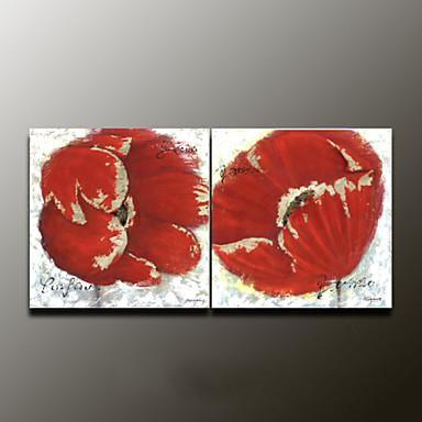 Pintados à mão Floral/BotânicoModerno 2 Painéis Tela Pintura a Óleo For Decoração para casa
