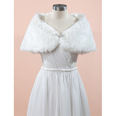 Sleeveless Faux Fur Wedding Party Evening Wedding  Wraps With Rhinestone Capelets