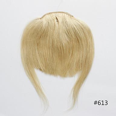 저렴한 가발 & 헤어 연장-신탁 클립 인 인간의 머리카락 확장 직진 클래식 인모 앞머리 나노 헤어 연장 제품 Nano 베이지 색 금발 / 표백제 금발 / 스트레이트
