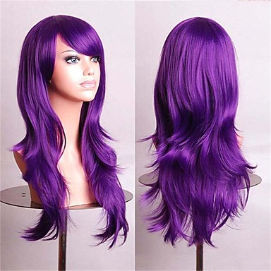 Women Synthetic Wig Wavy Purple Costume Wig