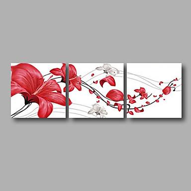 Kézzel festett Virágos / Botanikus Vízszintes panoráma, Modern Vászon Hang festett olajfestmény lakberendezési Három elem