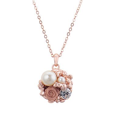 Mulheres Cristal Colares com Pendentes / Colar com Pérolas - Pérola, Imitações de Diamante Flor Ouro Rose Colar Para Festa