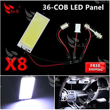 8x új, fehér csutka 36 SMD panel térképen kupola belső világítás + girland t10 BA9S adapter