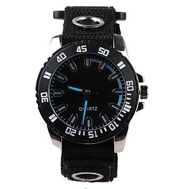 Homens Relógio de Pulso Quartzo Impermeável Tecido Banda Preta