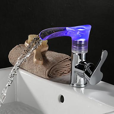 Banyo Lavabo Bataryası - LED Krom Bateria nablatowa Tek Kolu Bir Delik / Pirinç