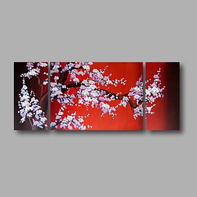 Kézzel festett Absztrakt / Virágos / BotanikusModern Három elem Vászon Hang festett olajfestmény For lakberendezési