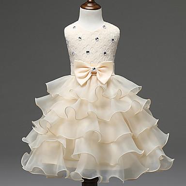お買い得  女児 ドレス-子供 女の子 甘い プリンセス パーティー 誕生日 祭り ソリッド レース リボン 多層式 ノースリーブ ポリエステル ドレス レッド