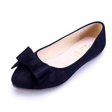 Kadın Ayakkabı Süet Bahar Yaz Sonbahar Kış Rahat Düz Topuk Fiyonk Uyumluluk Günlük Elbise Siyah Mavi Pembe Kırmızı Şarap
