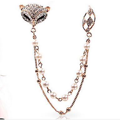 nova moda jóias chegada linda pérola broche de strass fox