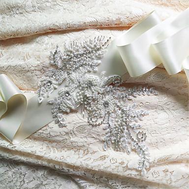 Satin Wedding Party / Evening Dailywear Sash With Rhinestone Beading Sequin Appliques Women's Sashes