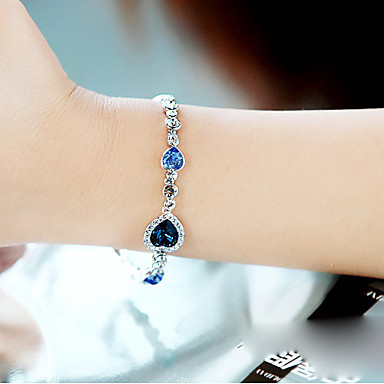 Women's Crystal Crystal Strand Bracelet - Multi Layer LOVE Blue Bracelet For Party Daily Casual