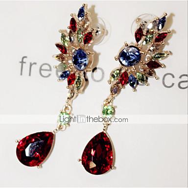 여성용 크리스탈 샹들리에 드랍 귀걸이 - 모조 큐빅, 모조 다이아몬드 레드 / 그린 제품