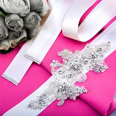Satin Wedding Party / Evening Dailywear Sash With Rhinestone Beading Pearl Sequin Appliques Women's Sashes
