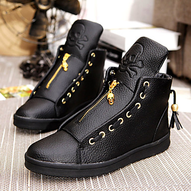 Men's Shoes Leatherette Winter Spring Summer Fall Comfort Lace-up for Casual White Black