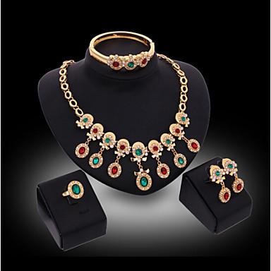 Luxo Fofo Festa Rígida Pedraria & Cristal Zircônia Cubica Chapeado Dourado Imitações de Diamante Liga Bracelete Colar Brincos Anél