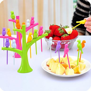 6pcs em forma de pássaro forquilhas de frutas decorações para casa cor aleatória 1pc, ferramenta de cozinha