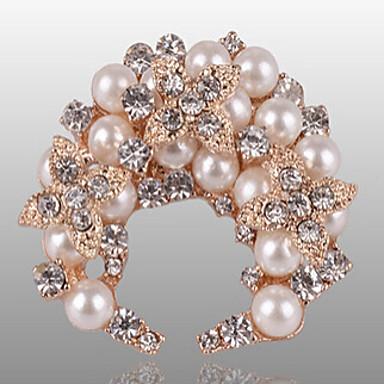 Feminino Pérola imitação de diamante Liga Jóias de Luxo Prata Dourado Jóias Casual